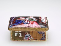 Small patch box, rectangular in shape and with white ground, painted on all four sides with colorful scenes of figures in interiors, the lid painted with an amorous couple before a window, the underside with a small square reserve in which is painted a female figure seated in front of a window.