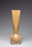 """Futura vase, Model 393-12"""" or """"Four Ball Vase."""" Geometrically designed slender vase with brown and green glaze; rests on a simple, square-shaped base; the body composed of four sides to create a square-shaped rim. A round form extends from the bottom of each side, where the body meets the base. Linear color designs in the form of triangles emphasize the form's verticality and geometric nature."""