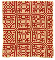 Goose in Pond/Young Man's Fancy quilt, red and tan
