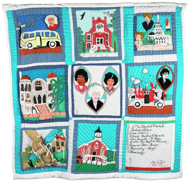 Picture or story quilt handcrafted of multi-colored cotton and cotton blend fabrics in shades of red, green and blue, made in commemoration of the Civil Rights Movement, in a grid pattern of nine blocks beginning in the upper left corner with block 5) Bus Boycott--Rosa Parks; upper middle block 6) [illegible] Baptist Church (appears to be an image of Bethel Baptist Church); upper right block 8) Kennedy Saga; middle left block 1) 16th Street Baptist Church; middle block 3) Extra Milers; middle right block 2) Freedom Riders; lower left block 7) Edmund Pettus Bridge; lower middle block 4) Dexter Avenue Baptist Church; lower right block 9) Directory.