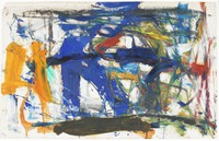 Abstract expressionist design of slashes in blue, red, orange, white, and other colors going in different directions.