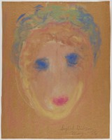 Untitled (Face), Sybil Gibson, tempera on brown paper