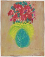 Untitled (Blue Vase with Flowers), Sybil Gibson, tempera on brown paper