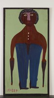Portrait of Bill Traylor, Mose Tolliver, paint on wood board
