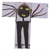 Crucifixion, Mose Tolliver, paint on wood board