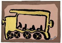 Untitled (Yellow Bus), Mose Tolliver, paint on wood board