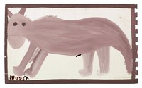 Untitled (Gray Four-legged Animal), Mose Tolliver, paint on wood board
