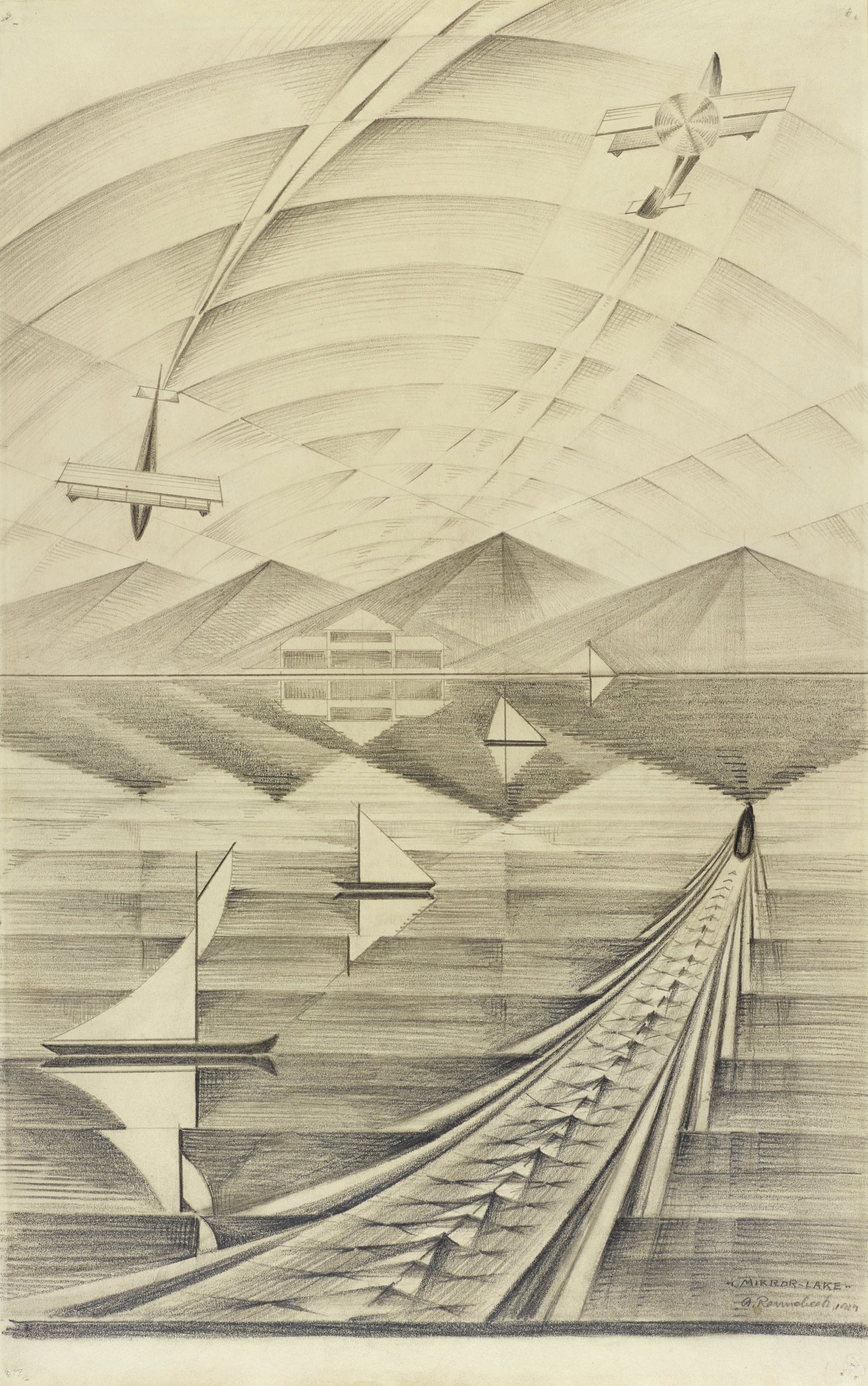 In this black and white graphite drawing, boats and airplanes move through fractured planes of water and sky. The drawing represents five boats on the water, one moving toward the mountainous shore and four stagnant on the water. In addition to four peaks, on the shore there is also a lodge. Above the peaks fly two biplanes, one swirling toward the top edge of the drawing and the other dipping toward the top of the peaks. At the bottom of the sheet the drawing is defined by a dark horizontal line and a blank piece of the page measuring about half of an inch.