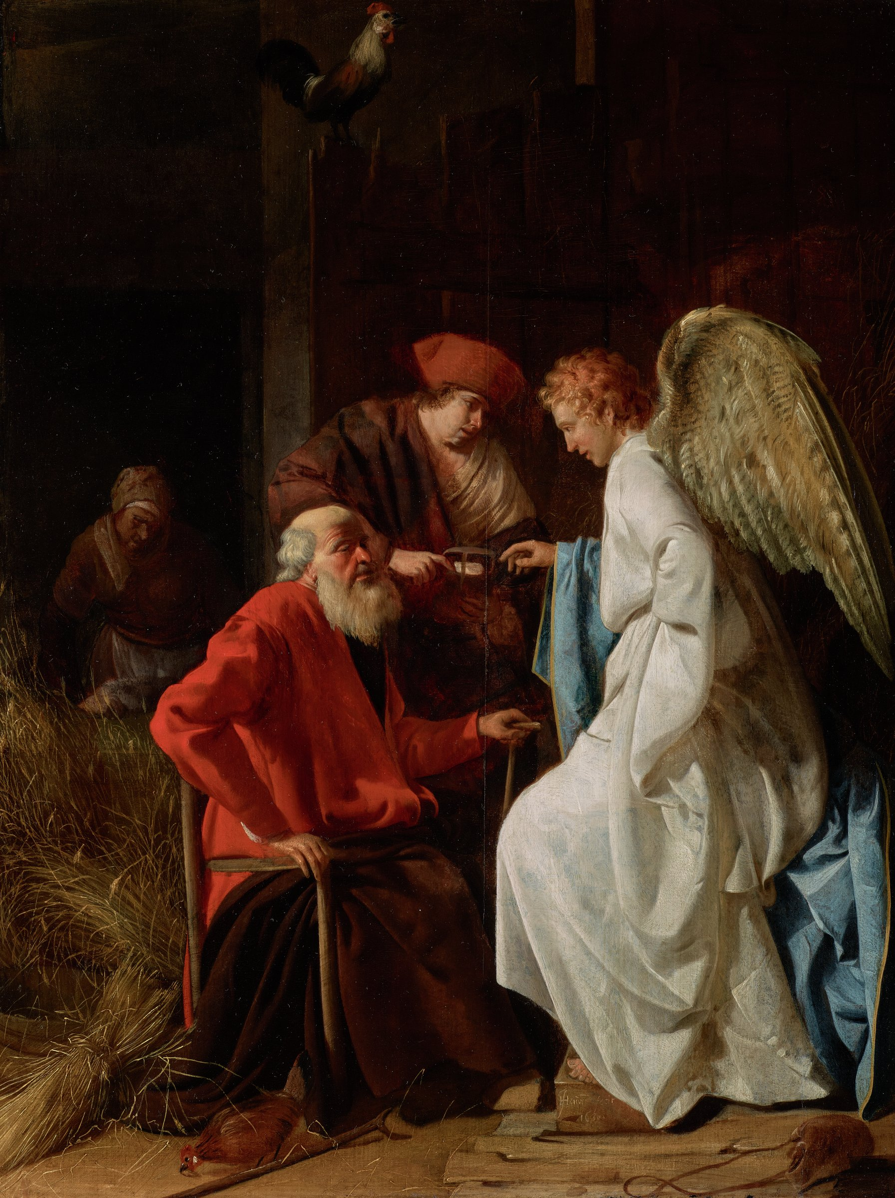 The elderly Tobit, dressed in a red cloak, is seated just left of center. The archangel Raphael, in a white robe and blue cloak trimmed in gold, stands before him. The angel reaches his right hand toward the medicine held by Tobias, who stands behind his father, Tobit. In the left background, a woman bends forward carrying an object, probably the fish from which the medicine was made. The scene takes place in a dark and rustic barn, complete with a chicken at the feet of Tobit and a rooster atop the slightly ajar barn door. The edge of the barn door is on a direct vertical with one of the legs of Tobit's chair. In the lower right corner lies a moneybag.