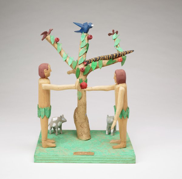 Adam and Eve facing each other, Eve holding out apple, before the Tree of Life.