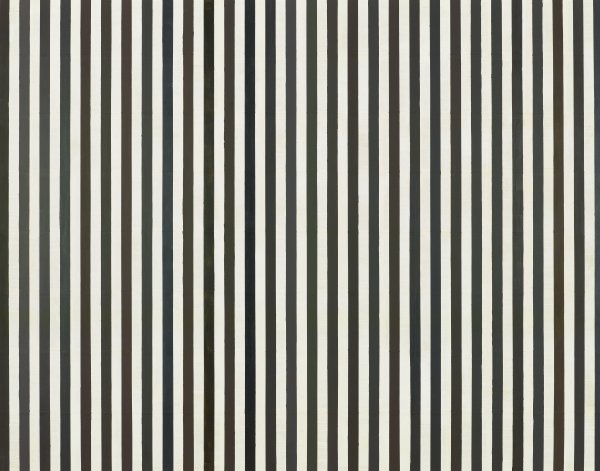 Vertical black and white lines of paint over book pages.