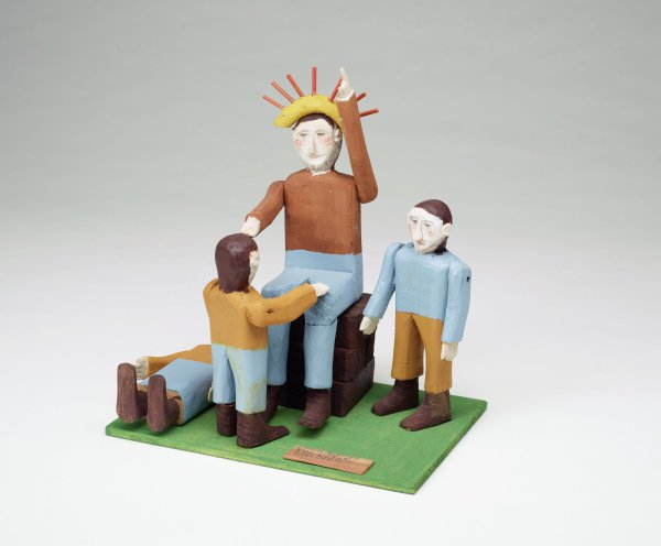 Jesus Blesses the Little Children, Fred Webster, painted wood