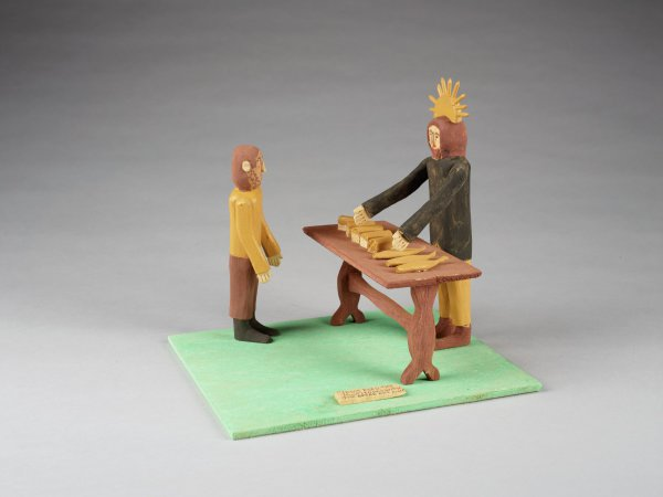 Jesus Feeding the Multitudes, Fred Webster, painted wood