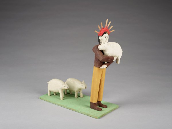 New Testament figure of the good shepherd with sheep