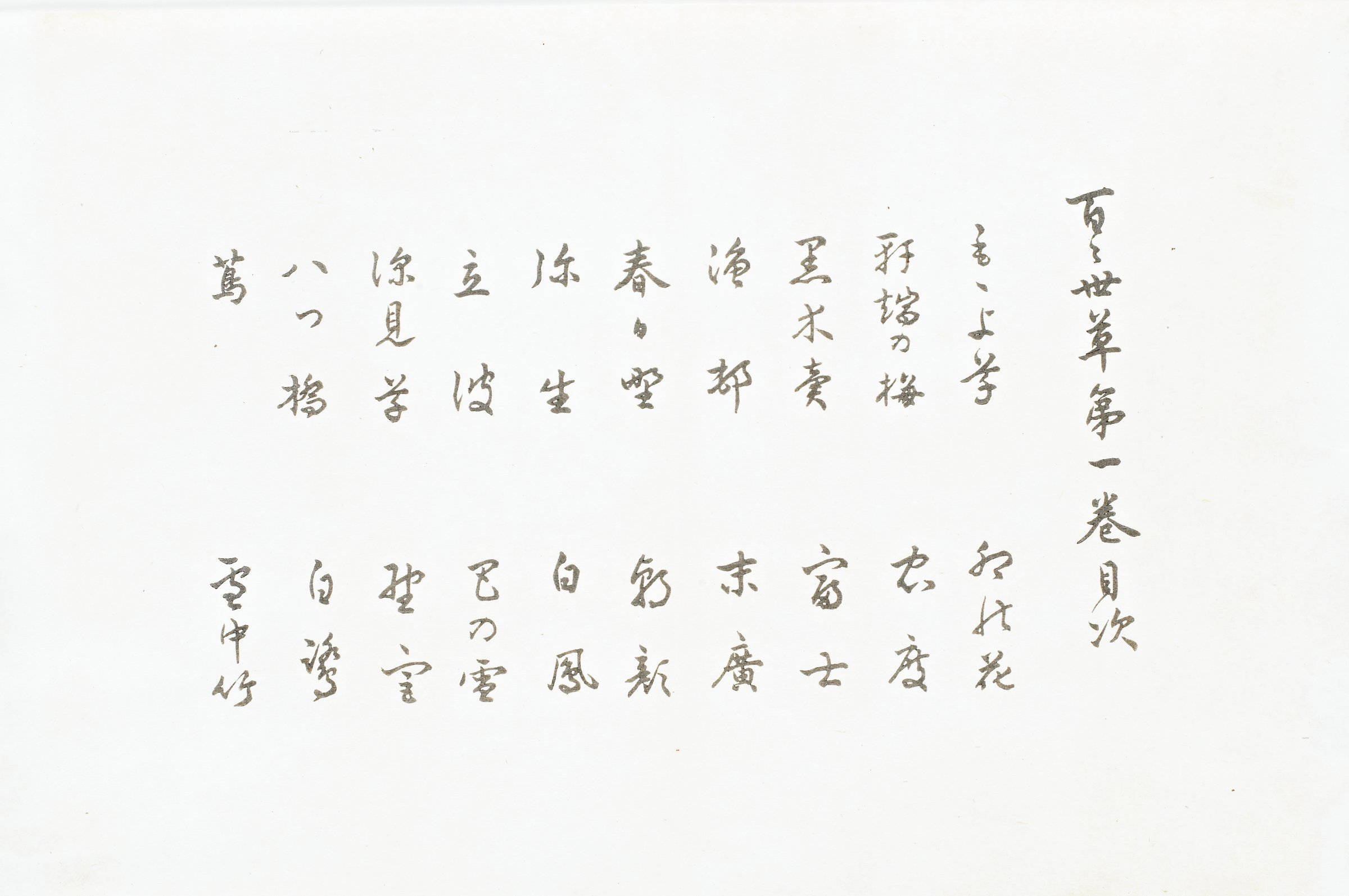 Table of contents consisting of twenty titles and one line of characters