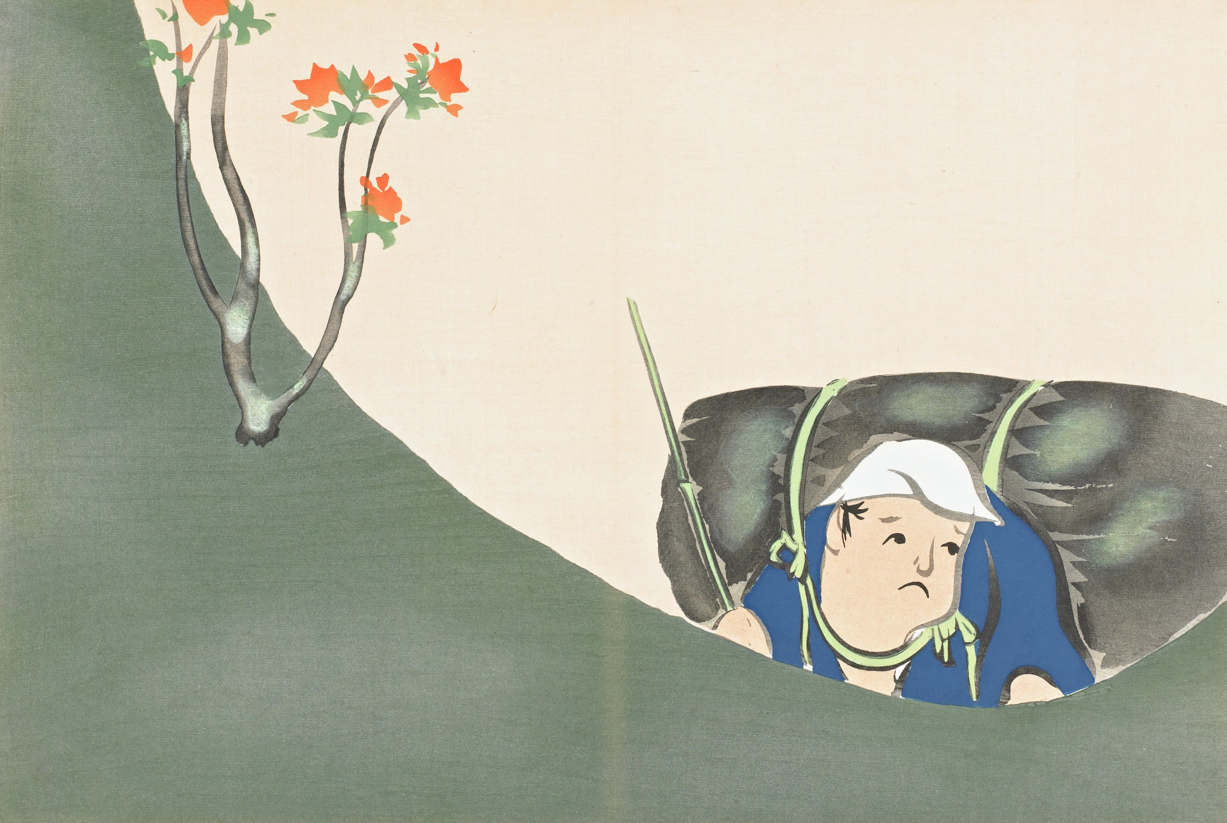 Shofu (A Woodcutter), from Momoyogusa (A World of Things), Volume 2, Kamisaka Sekka, ink and color on paper