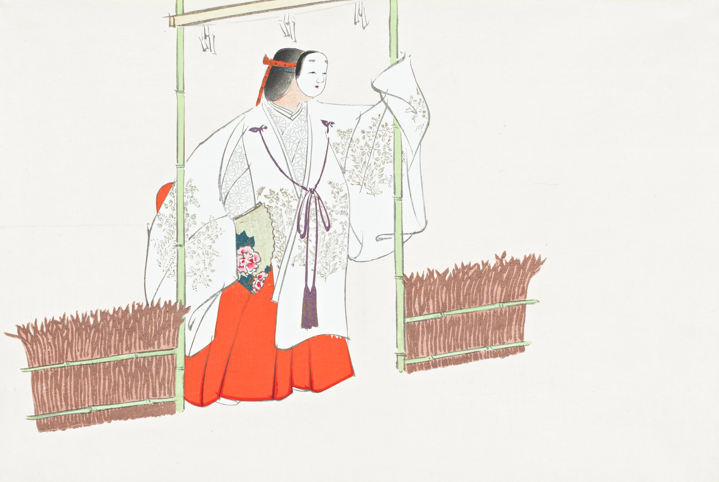 """Nonomiya (Noh play """"The Shrine in the Fields""""), from Momoyogusa (A World of Things), Volume 1, Kamisaka Sekka, ink and color on paper"""