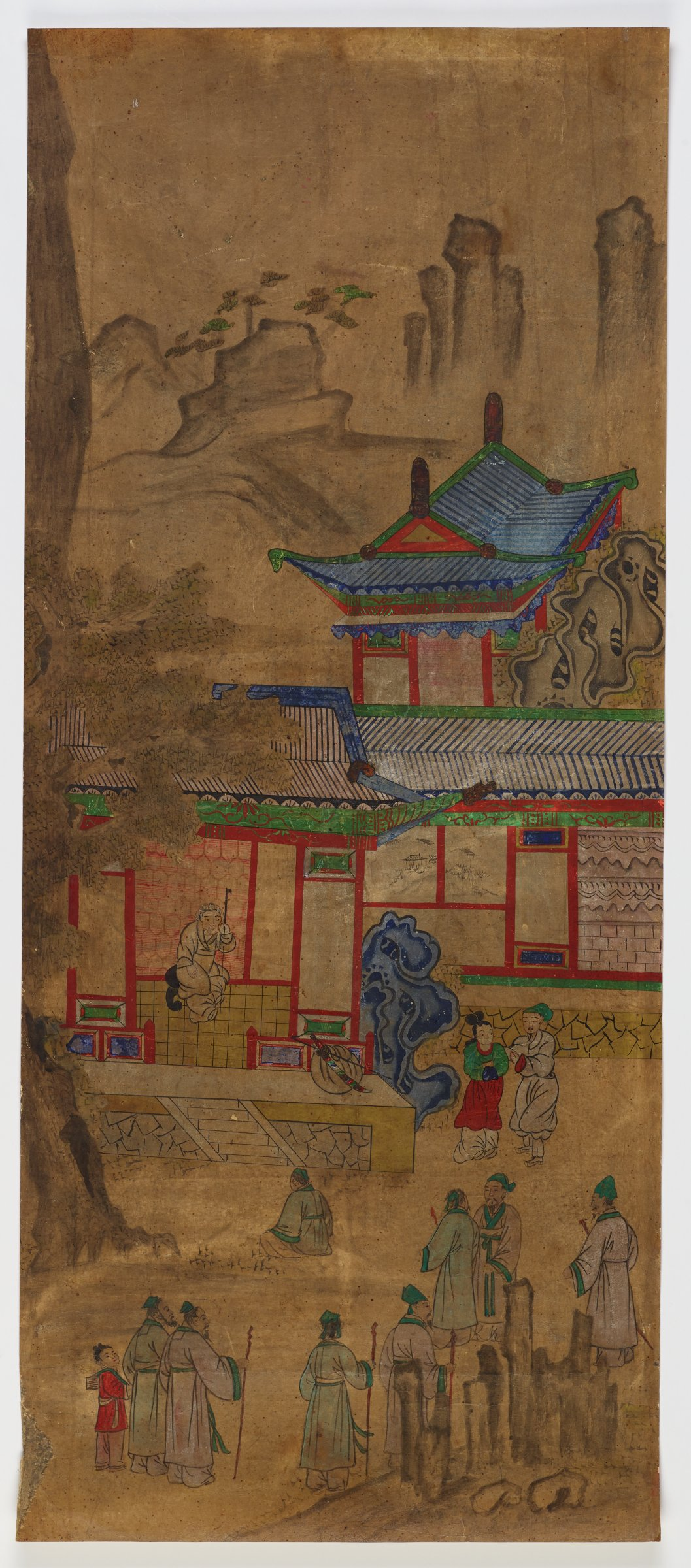 """?/8. Zhu Yun Breaks the Railing from """"Chapter on Loyal Officials""""Illustrated Stories Exemplifying the Five Confucian Virtues (Oryun Haengsildo)One of eight unmounted screen panel paintings with scenes of filial piety. Originally intended to be mounted as a folding screen."""