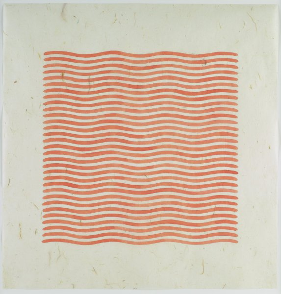 A series of orange wavy horizontal lines on a neutral field.