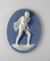 Large oval plaque of light blue jasper with blue jasper dip and in high white relief the figure of Diomedes, hero of the Trojan War, with cloak thrown over his shoulder and sword under his arm.