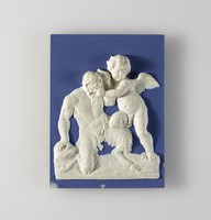 Heavy, rectangular plaque of light blue jasper with blue jasper dip and white relief with a scene of a winged cupid grappling with a faun.