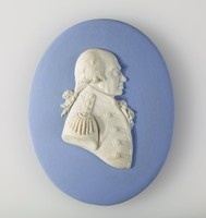 Oval blue jasper medallion with white relief profile portrait of First Earl Richard Howe (1726-1799) was a British naval officer. After serving throughout the War of the Austrian Succession, he gained a reputation for his role in amphibious operations against the French coast as part of Britain's policy of naval descents during the Seven Years' War. He also took part, as a naval captain, in the decisive British naval victory at the Battle of Quiberon Bay in November 1759.