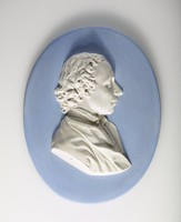 Oval blue jasper medallion with profile portrait of Priestley (1733-1804) was an 18th-century English theologian, English Dissenters clergyman, natural philosopher, chemist, innovative grammarian, multi-subject educator, and liberal political theorist who published over 150 works.