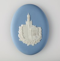 Oval blue jasper medallion with white relief commemorating the Massachusetts Mutual Building,
