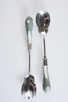 Set of salad servers comprised of a fork and a spoon, the handles of white jasper with dark green jasper dip and white relief decoration of acanthus leaves and stylized flowers, with small floral elements at the ends, the shanks, stems and bowls of electro-plated nickel silver.