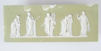 Small, rectangular tablet of white jasper with peach-green jasper dip and white relief decoration of Apollo and four of the Muses.