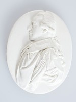 Medallion with profile portrait of Lord Hillsborough (1717-1793), known as the Viscount Hillsborough from 1742 to 1751 and as the Earl of Hillsborough from 1751 to 1789, was a British politician of the Georgian era. Best known in North America as the Earl of Hillsborough, he served as Secretary of State for the Colonies from 1768 to 1772, a critical period leading toward the American War of Independence.