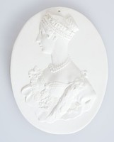 Oval medallion with profile portrait of Queen Victoria (1819-1901) ,  was Queen of the United Kingdom of Great Britain and Ireland from 20 June 1837 until her death. From 1 May 1876, she adopted the additional title of Empress of India.
