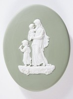 Oval green jasper plaque with white relief of mother with children, with oval butt for setting in baby carriages, made for Wilson of Guisley?, pairs with 5895.2008