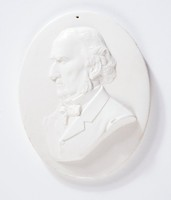 Oval medallion with relief profile portrait of Gladstone