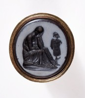 """Oval Nicolo intaglio, black basalt with gray face, with black scene of """"Conquered Province"""", mounted in pinchbeck shank"""