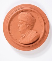 Round terracotta medallion with relief profile portrait of Benjamin Franklin
