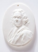 """Oval medallion with relief portrait of Herman Boerhaave (1668-1738), He was a Dutch botanist, chemist, Christian humanist and physician. He is regarded as the founder of clinical teaching and of the modern academic hospital and is sometimes referred to as """"the father of physiology."""" In addition, Boerhaarve was the first physician that put thermometer measurements to clinical practice."""