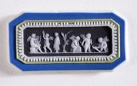 Octagonal four-color jasper (dark blue, sage green, black, and white) cameo with white relief scene with six putti