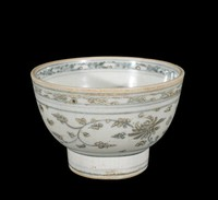"""Bowl with character """"phuc"""" (good fortune) in well, floral meander on rim, lotus sprays, painted in underglaze-blue cobalt-oxide."""