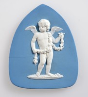 Spade-shaped blue jasper plaque with white relief putto representing Summer