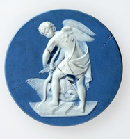 Round dark blue jasper medallion with white relief of Cupid shaving his bow, broken and poorly repaired