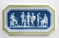 Octagonal tri-color jasper (sage green, dark blue, and white) cameo with white relief of Marcus Scoevola before King Porsena, featuring three warriors surrounding a fire, diana the huntress sitting on a chair being tended to and another soldier sitting on a chair.