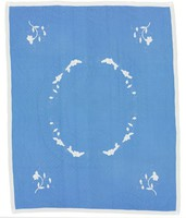 Probably from a kit, top found in Tuscaloosa, white floral appliqué on blue