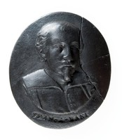 Oval black basalt medallion with relief portrait of a Francesco Albani (1578-1660) facing right. Italian painter who was born in Bologna. The son of a silk merchant who studied as a fellow pupil with Guido Reni first under Calvaert in Bologna, and then under the Carracci in Rome. He enjoyed a considerable reputation in seventeenth century Italy and his works are mainly preserved in Rome, Paris and Bologna.