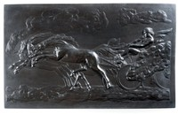 Large well modelled rectangular basalt plaque depicing the 'Fall of Phaeton' by George Stubbs. R.A.  featuring Phaeton the son of the sun god in his chariot pulled by four horses with Phaeton straining at the reigns to get them under control.