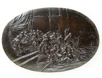 Oval bronze plaque depicting the Marriage supper of Perseus and Andromeda