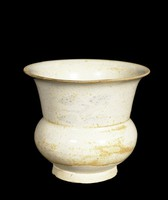 Small wide-mouthed vase with ivory glaze with underglaze iron vegetal daubs