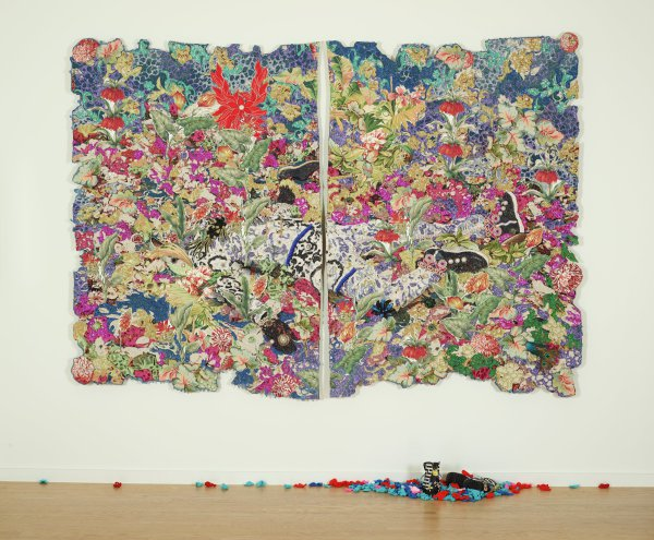 Jacquard-weave two-panel tapestry with handmade shoes and crocheted leaves
