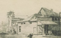 This image is created with black ink on paper. It shows a corner store with a sign for Nehi cola above its awning. To the right of the corner store is a two story building with a second story porch, possibly a domestic building. To the left of the corner store (behind it and down the street) are two small buildings and then a church with a steeple and a tower. Two children play in the foreground, and a woman walks down the street to the left of the corner store toward the church.