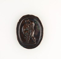 Oval bronze medallion with relief of Hercules strangling the Nemean lion